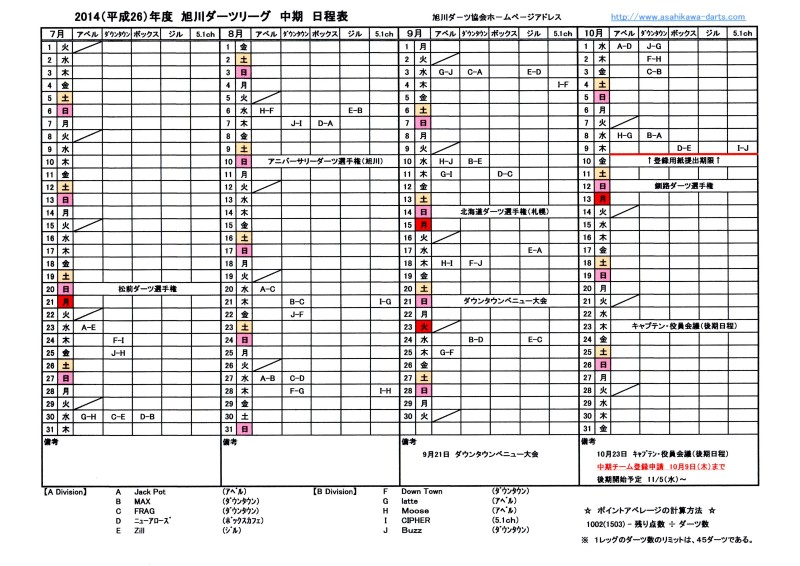 2014中期日程表